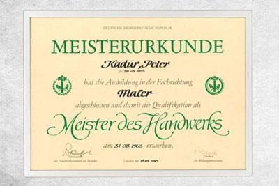 1983 Meisterurkunde Handwerk Peter S. Kadur
