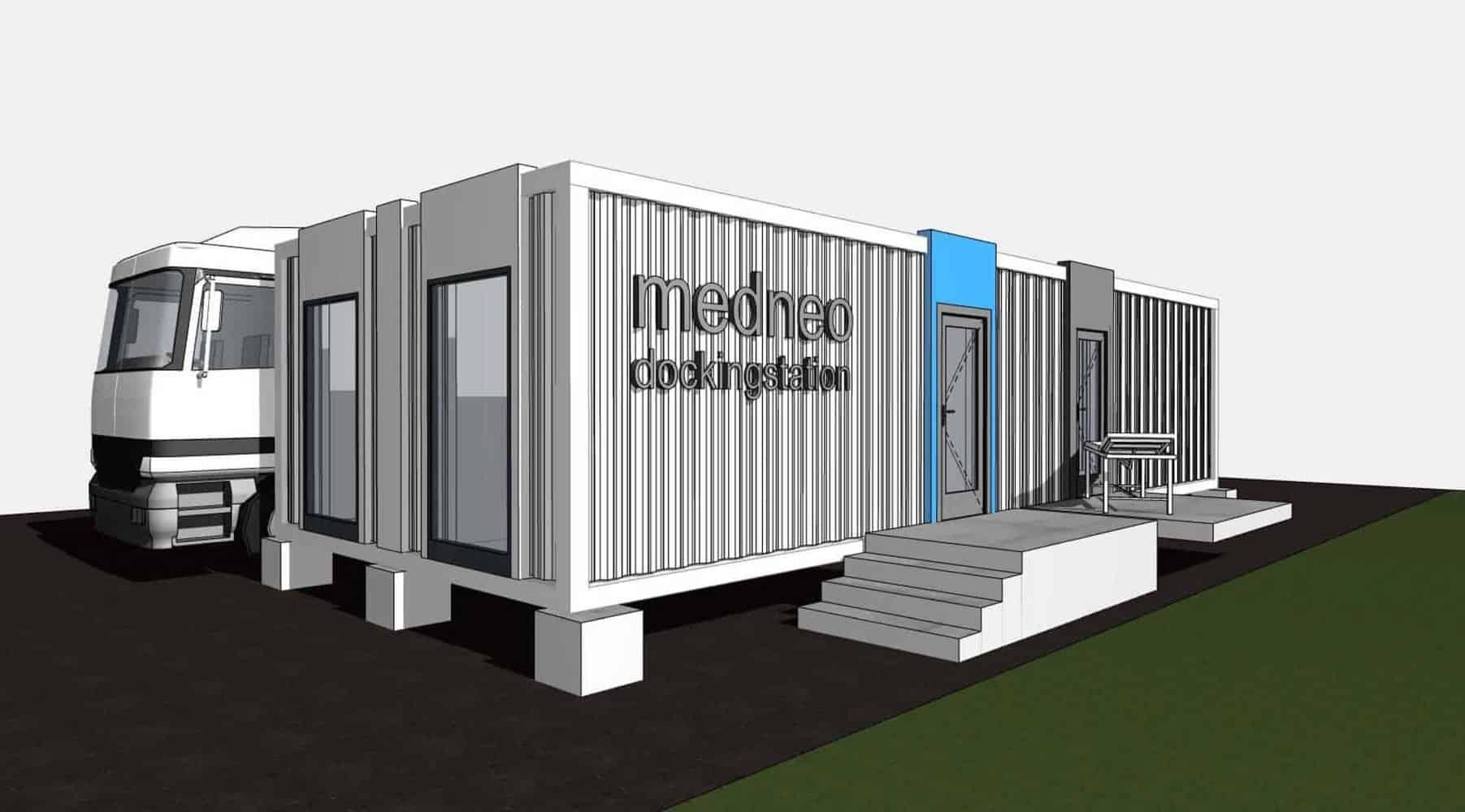 medneo Dockingstation, medneo GmbH, Konzeptentwicklung, Architektur, Referenz, Berlin, MRT, mobile Radiologie, Seecontainer
