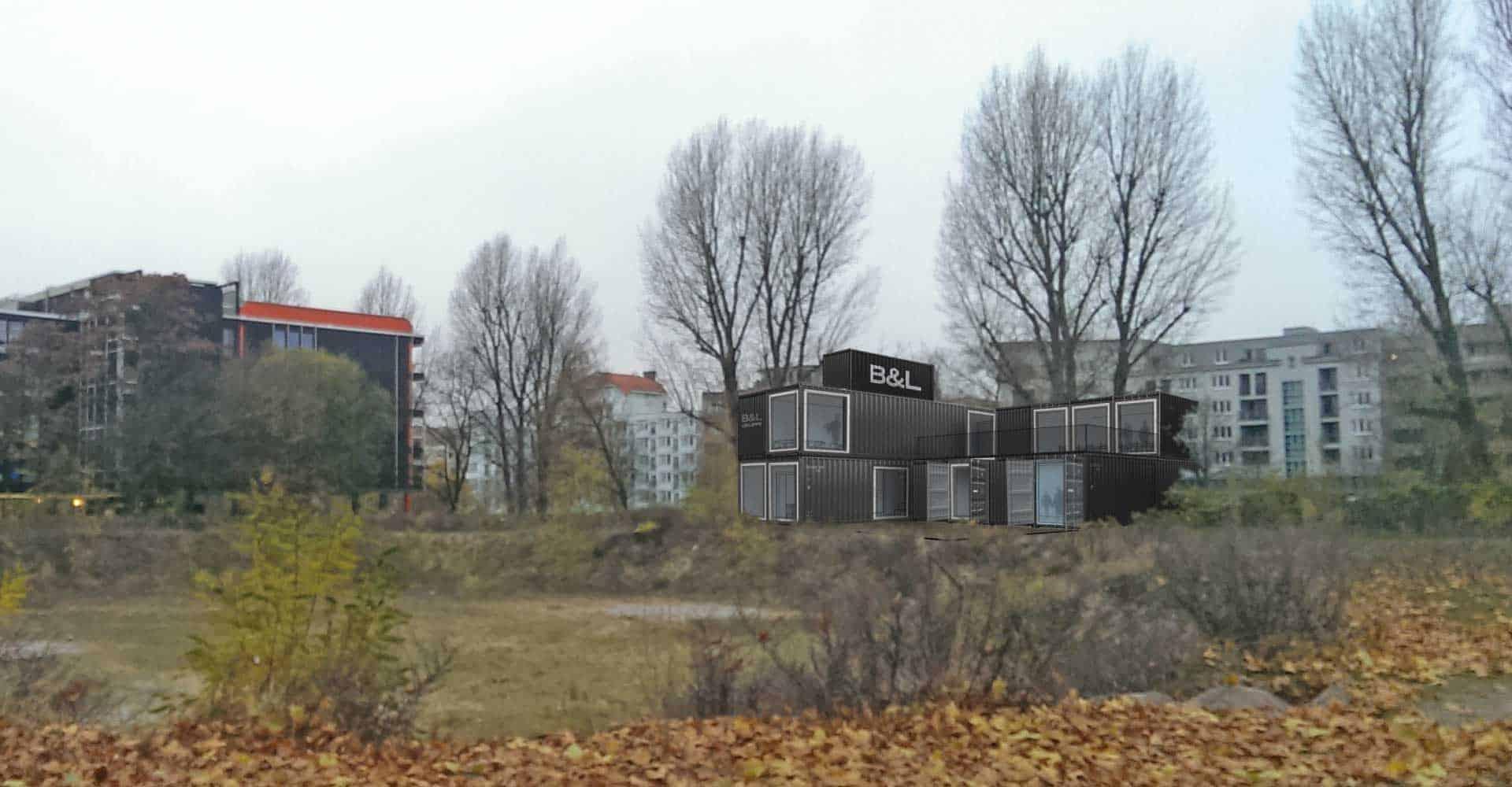 B&L Real Estate GmbH, Konzeptentwicklung, Mockup, Seecontainer, Modulare Gebäude, Hamburg, Architektur