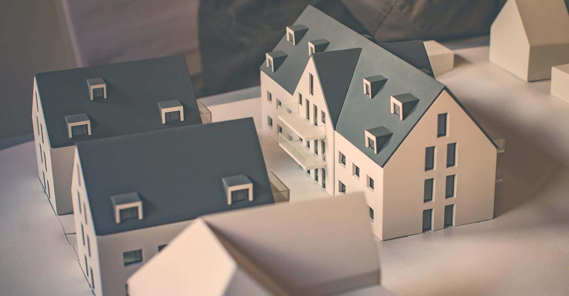 PQA, Park Quartiere Altfranken, Neubau, Grundsteinlegung, Richtfest, 15 Eigentumswohnungen, Architektur, Handwerk, Modell