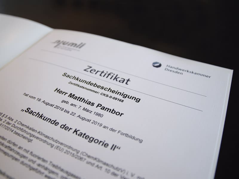 KADUR Haustechnik, Zertifikat, Matthias Pambor, Handwerkskammer Dresden